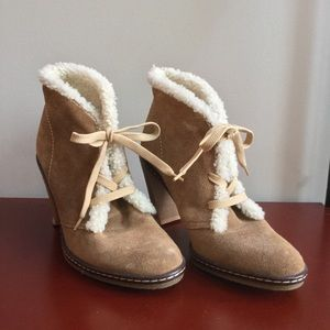 Amazing Suede Leather Fur Coach Boots